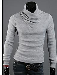 KICAI Heren High Neck Konijn Pluche Thicken Slim Dieptepunt Knitwear (licht grijs)
