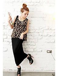 MULHERES fashiongirl Leopard Sem Manga em torno do pescoço vestido longo