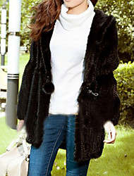 Long Sleeve Hooded Mink Fur Casual Coat
