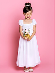 Sheath / Column Ankle-length Flower Girl Dress - Chiffon Short Sleeve Square with Bow(s) / Draping