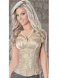CAOJI Women's Sexy Beige Strapless Lacing Corset and T-back