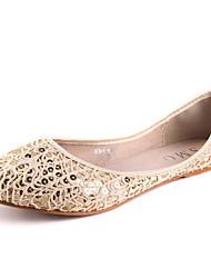 IG.SHOES Fashion Lace Cut Out Sequins Flat Heel PU Shoes(Beige)