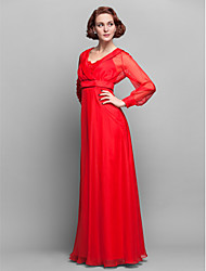 Lanting Bride® A-line Plus Size / Petite Mother of the Bride Dress Floor-length Long Sleeve Chiffon with Lace