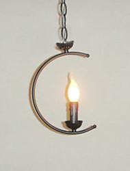 Crescent Candle Design Pendant, 1 Light, Creative Classic Painting Metal