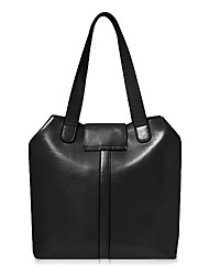 GlobalFreeman mode Genius Leather Tote massif de couleur (Noir)