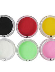 1PCS multi-couleurs nail art, Sculpture, Sculpture poudre acrylique (couleur assortie, n ° 7-12)