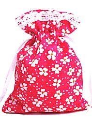 Red Cloth Drawstring Favor Bags - Set of 12