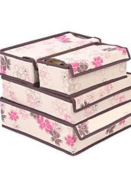Beige Folwer 4 Pieces Underwear Storage Boxes