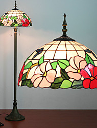 Floral Pattern Floor Lamp, 2 Light, Tiffany Resin Glass Painting Process