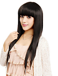 Capless Long Straight Black Synthetic Wig