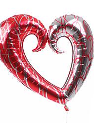 Prata & coração vermelho metálico Balão