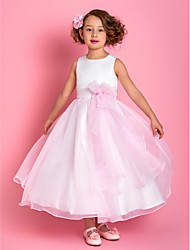 A-line Ankle-length Flower Girl Dress - Organza Satin Spaghetti Straps with Flower(s)