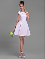 Short/Mini Satin Bridesmaid Dress - Plus Size / Petite A-line Bateau