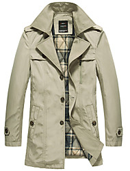 Men's Long Turn-down Collar Trench Coat