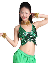 Belly Dance Tops Women's Training Polyester Beading / Coins / Sequins Blue / Green / White Belly Dance / BallroomSpring, Fall, Winter,
