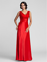 TS Couture Prom Formal Evening Military Ball Dress - Open Back Sheath / Column Straps Floor-length Satin Chiffon withBeading Sash /
