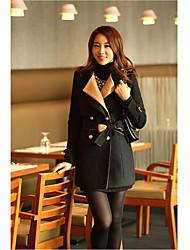 Traumfrauen nehmen verdicken Zweireiher Tweed-Mantel (schwarz)