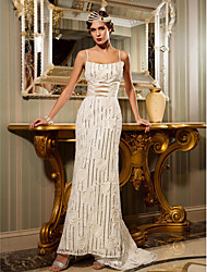 Sheath/Column Wedding Dress - Ivory Sweep/Brush Train Spaghetti Straps Satin/Lace