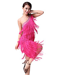 Dancewear Polyester Latin Dance Dress With Tassels For Ladies(More Colors)