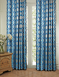 (Two Panels) Michelle Luxury® Rococo Blue Stripe Energy Saving Curtain