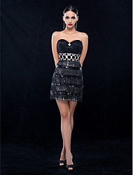 Cocktail Party/Holiday Dress - Black Plus Sizes Sheath/Column Strapless/Sweetheart Short/Mini Tulle/Stretch Satin/Sequined