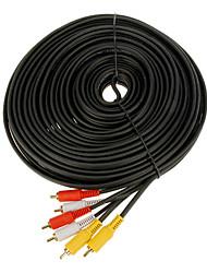15m jsj® 49.2ft 3 rca macho a cable macho - negro