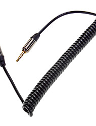 Retractable Spring 3.5mm Audio Male to Male Connection Cable Black (1.5M)