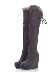 Suede Wedge Heel Platform Over The Knee Boots(More Colors)