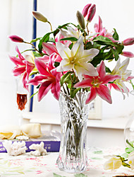 "17.75""Fresh Pink Lily Arrangement With Glass Crystal Vase"