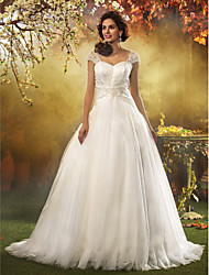 Lanting Bride® A-line / Princess Petite / Plus Sizes Wedding Dress - Classic & Timeless / Elegant & Luxurious Vintage Inspired / Open Back