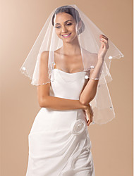 One-tier Fingertip Wedding Veil With Pencil Edge And Bows