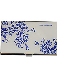 Personalized Blue-White Flower motif gravé Business Card Holder