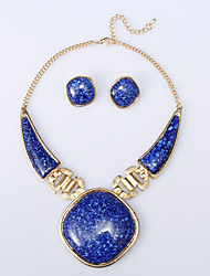 Rich Long Women's Fashion Royal Blue Necklace And Earring Set