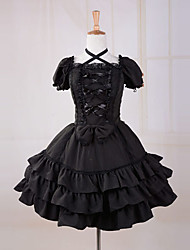 Straped Short Sleeve Knee-length Black Cotton Gothic Lolita Dress