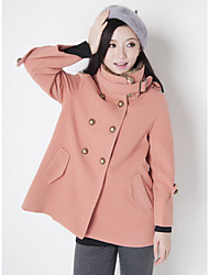 Women's Coat,Solid Long Sleeve Winter Wool / Others Thick