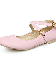 Women's Shoes Leatherette Spring / Summer / Fall Ankle Strap Casual Flat Heel Blue / Yellow / Pink / White