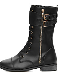 Leather Low Heel Combat Mid-calf Boots With Lace-up And Zipper