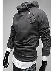 KICAI Men's Rabbit Fur Collar Inclined Zipper Thick Hoodie(Gray)