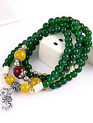 National 37cm Wind Crystal Multi Tiger Green Natural Stone Beaded Bracelet B352