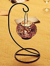 "11""Mordern Stytle Glass Mosaic Patch Candle Lantern"