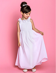 A-line Ankle-length Flower Girl Dress - Chiffon Scoop with Bow(s) Flower(s) Side Draping