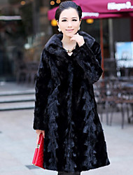 Long Sleeve Turndown Mink Fur Party/Casual Coat