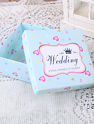 Square Light Sky Blue Wedding Favor Boxes With Heart Pattern - Set of 12