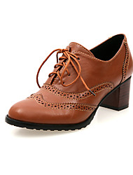 Women's Spring / Summer / Fall / Winter Leatherette Office & Career Chunky Heel Hollow-out Black / Brown / Ivory
