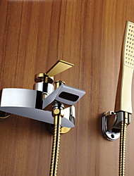 Tub Faucet Modern Design Widespread  with Golden Handshower