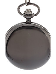 Men's Simple Cover Black Alloy Quartz Analog Pocket Watch with Chain Cool Watch Unique Watch