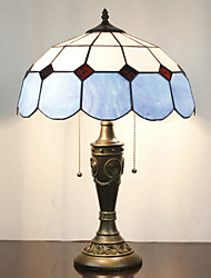 Table Lamp, 2 Light, Minimalist Tiffany Resin Glass Painting