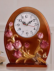 "10""Country Type Flower Polyresin Analog Tabletop Clock"