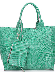 SCIDACA Noble Alligator Pattern Cow Leather Green Tote