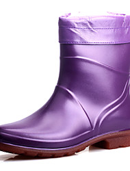 Women's Shoes Rubber Spring / Summer / Fall / Winter Rain Boots Outdoor / Casual Flat Heel Black / Green / Purple